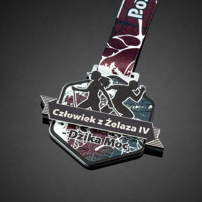 Running medal with 3D effect