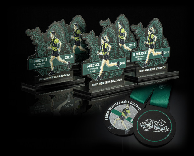 Awards sets for runners - medals, statuettes, bottle openers, pins